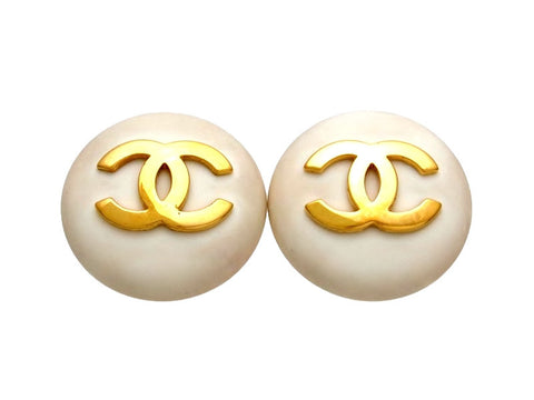 Vintage Chanel earrings CC logo white round