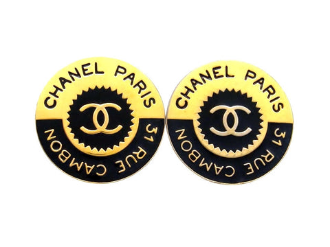 Vintage Chanel earrings CC logo black round