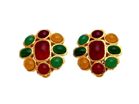 Vintage Chanel earrings red green stone