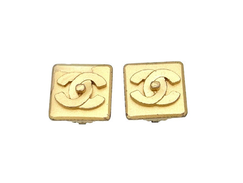 Vintage Chanel earrings CC logo square