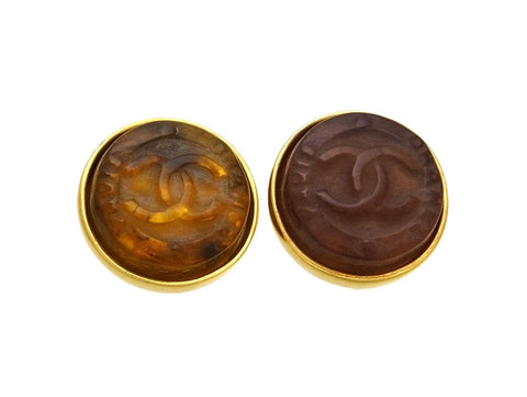 Vintage Chanel earrings CC logo round brown glass
