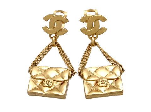 Vintage Chanel earrings CC logo bag dangle