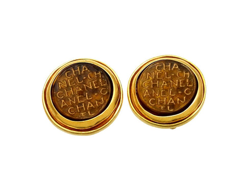 Vintage Chanel earrings logo brown glass round