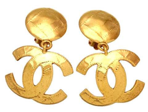 Vintage Chanel earrings CC logo round dangle