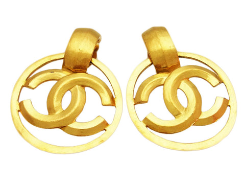 Vintage Chanel earrings CC logo hoop dangle
