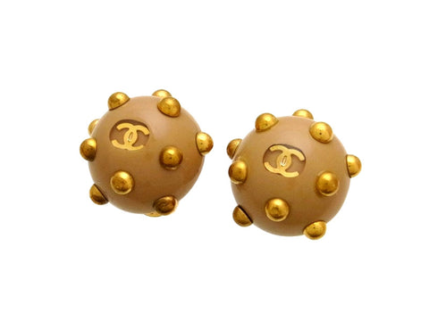 Vintage Chanel earrings CC logo beige ball