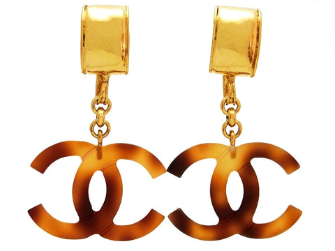 Vintage Chanel earrings CC logo dangle tortoiseshell plastic
