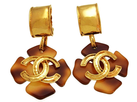 Vintage Chanel earrings CC logo brown dangle