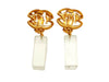 Vintage Chanel earrings CC logo clear dangle plastic
