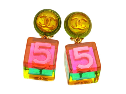 Vintage Chanel earrings No.5 pink dangle plastic