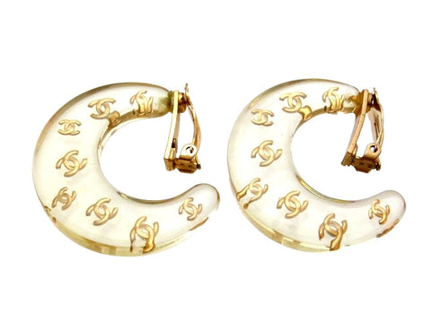 Vintage Chanel earrings CC logo clear crescent moon