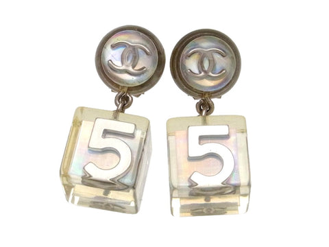 Vintage Chanel earrings No.5 clear dangle plastic