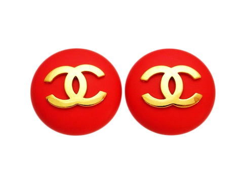 Vintage Chanel earrings CC logo red round