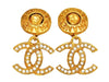 Vintage Chanel earrings CC logo rhinestone dangle