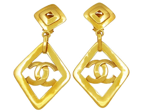 Vintage Chanel earrings CC logo rhombus dangle