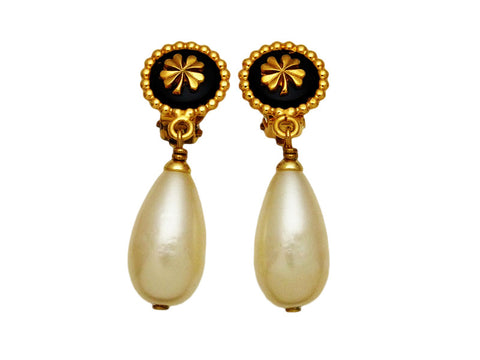 Vintage Chanel earrings clover pearl dangle