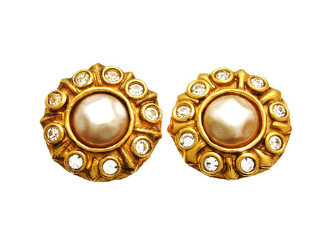 Vintage Chanel earrings pearl rhinestone round
