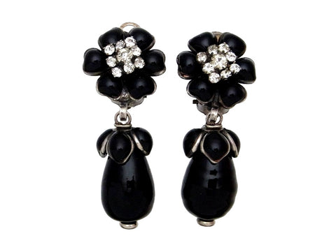 Vintage Chanel earrings rhineston flower dangle