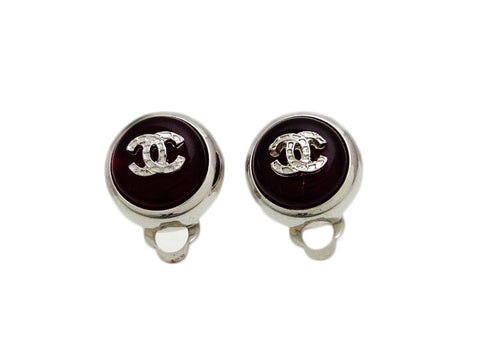 Vintage Chanel earrings CC logo red stone