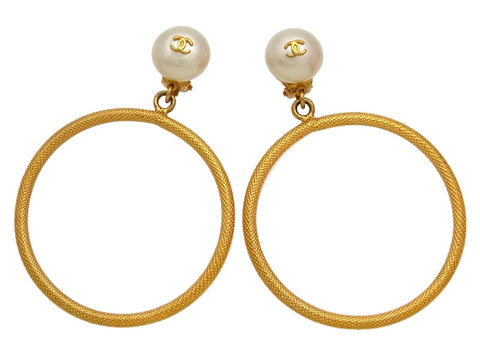 Vintage Chanel earrings CC logo pearl hoop dangle