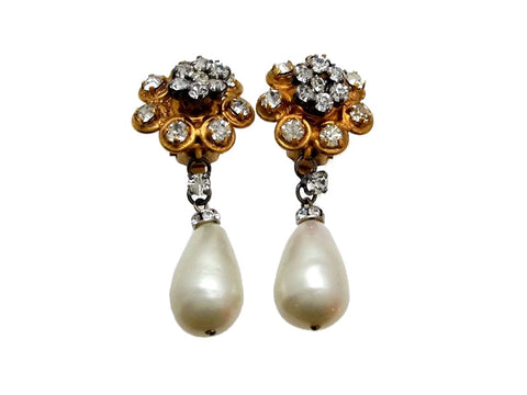Vintage Chanel earrings rhinestone flower pearl dangle