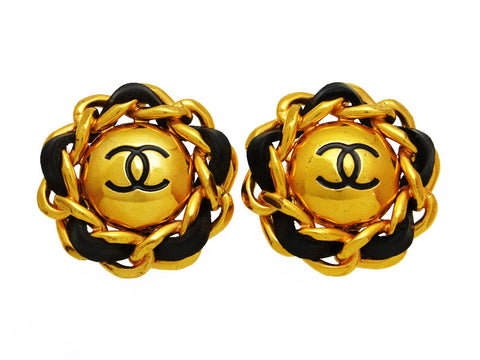 Vintage Chanel earrings CC logo round leather chain