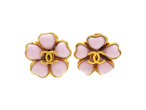 Vintage Chanel earrings CC logo pink flower