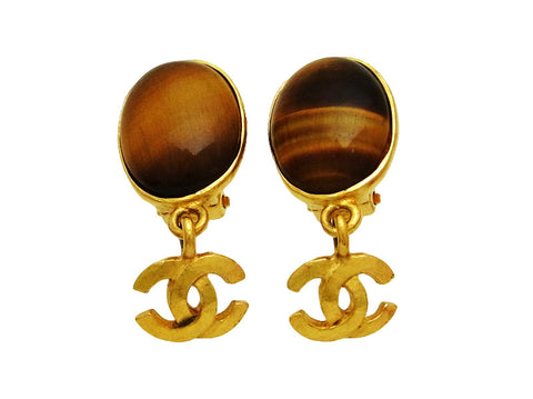Vintage Chanel earrings CC logo dangle brown stone