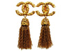 Vintage Chanel earrings CC logo fringe tassel dangle