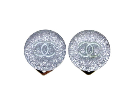 Vintage Chanel earrings CC logo light blue