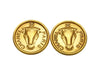 Vintage Chanel earrings CC logo COW round