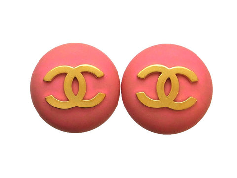 Vintage Chanel earrings CC logo round pink