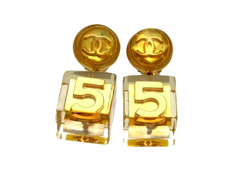 Vintage Chanel earrings CC logo No,5 cube dangle
