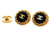 Vintage Chanel earrings CC logo black chain round