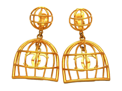 Vintage Chanel earrings birdcage as seen on Beyonce