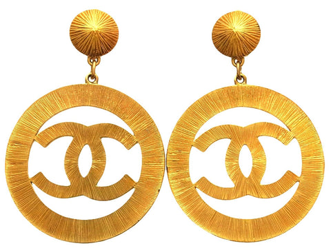 Vintage Chanel earrings CC logo sun burst hoop dangle