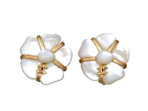 Vintage Chanel earrings CC logo white stone flower