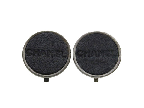 Vintage Chanel earrings logo round black leather