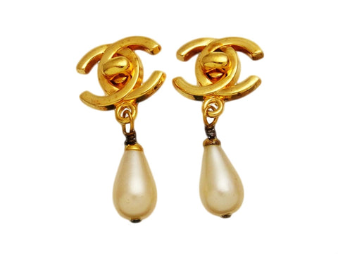 Vintage Chanel earrings turnlock CC logo pearl dangle