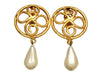 Vintage Chanel earrings flower pearl dangle huge