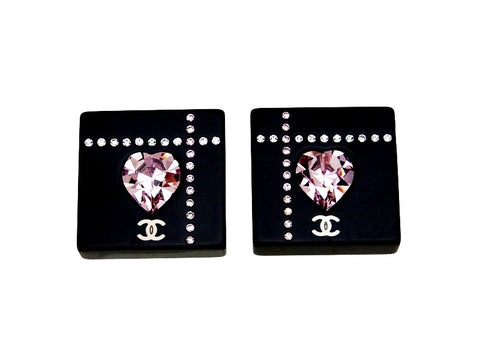 Vintage Chanel earrings CC logo heart rhinestone square