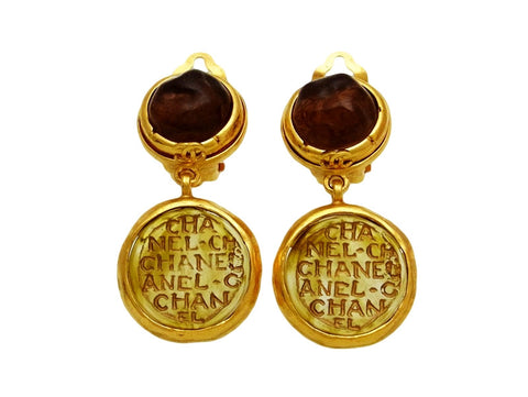 Vintage Chanel earrings CC logo brown glass dangle