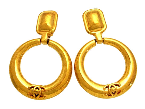 Vintage Chanel earrings turnlock CC logo hoop dangle