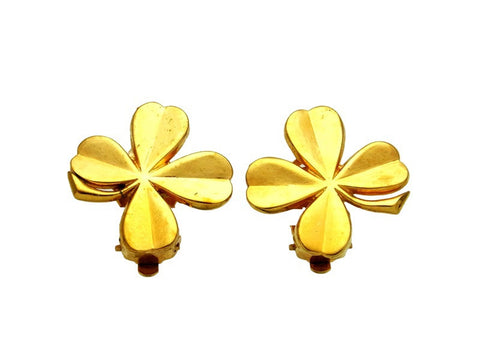 Vintage Chanel earrings clover gold tone