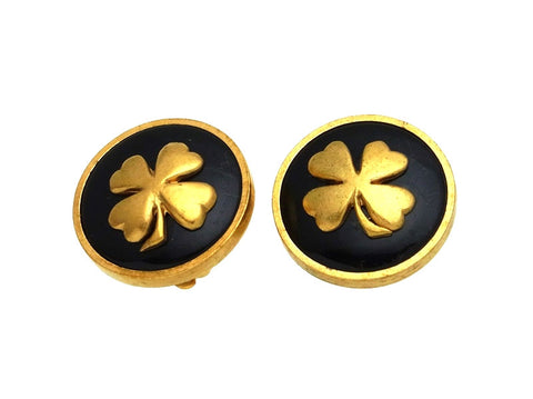 Vintage Chanel earrings clover black round