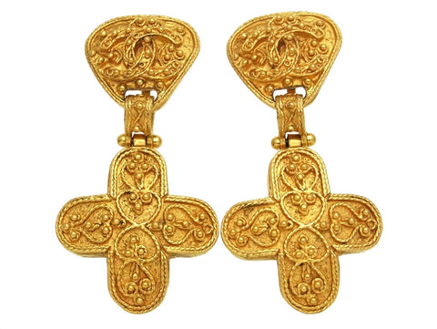 Vintage Chanel earrings CC logo cross dangle