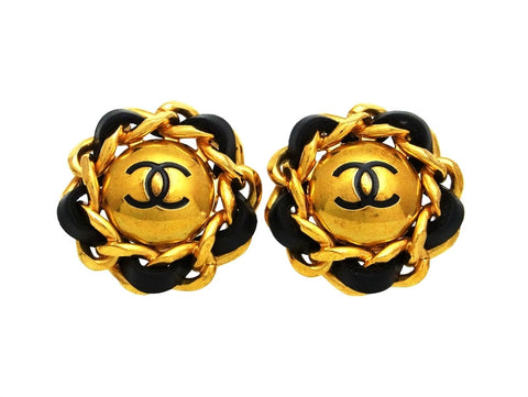 Vintage Chanel earrings CC logo black leather round