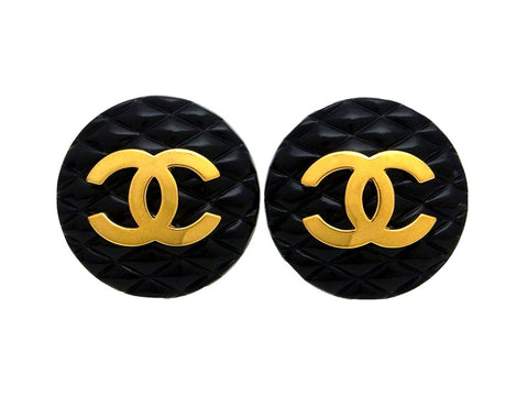 Vintage Chanel earrings quilted black as seen on Ashlee Simpson