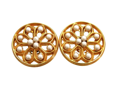 Vintage Chanel earrings pearl round large
