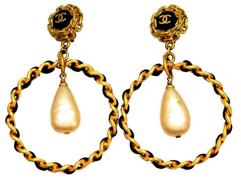 Vintage Chanel earrings CC logo hoop pearl dangle